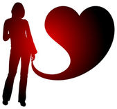 Woman with heart silhouette illustration — Stock Photo