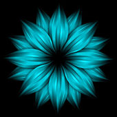 Abstract sky blue flower on black — Stock Photo