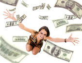 Beautiful young woman throwing mony into — Stock Photo