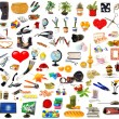 Big set of objects on white — Stockfoto