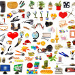 Big set of objects on white - Stock Photo