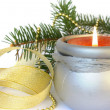 Candle and decoration isolated — Stock Photo
