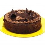 Chocolate cake isolated on white — Stock Photo