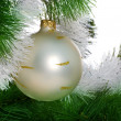 Christmas tree with christmas sphere — Stock Photo