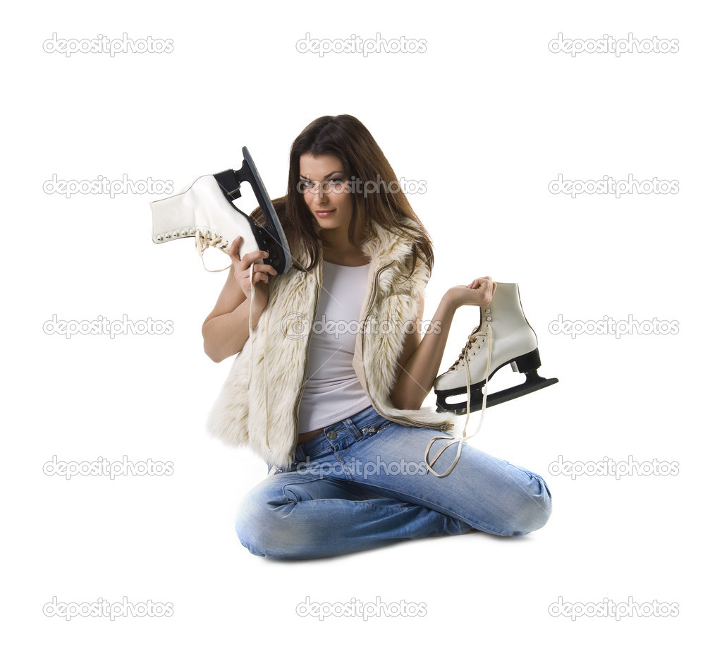 Beautiful young woman and skates on white — Stock Photo #1108191