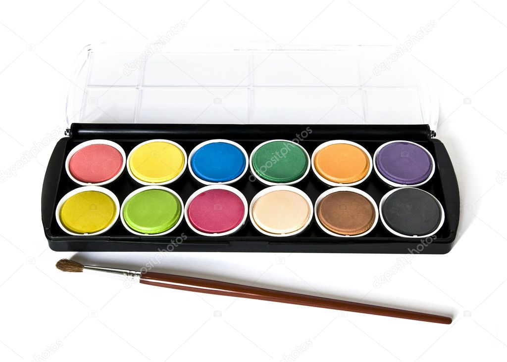 Black box of watercolors isolated on a white background — Stock Photo #1108800