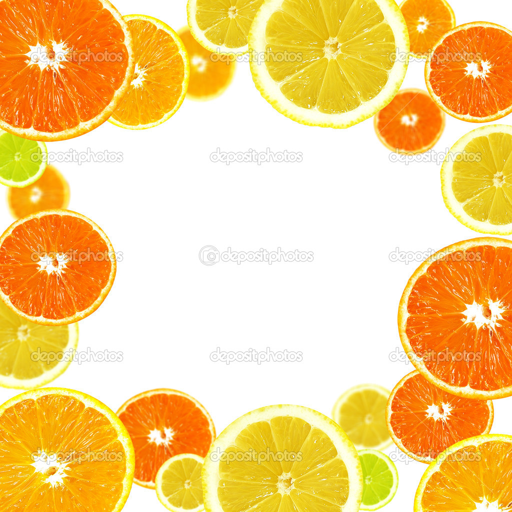 A slices of fresh orange, lemon and lime background — Stock Photo #1109778