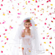 Ctue little girl in a veil — Stock Photo