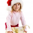 Cute girl with a xmas gift — Stock Photo #1110313