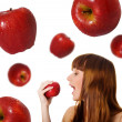 Cute women with red apples — Stock Photo #1110817
