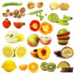 Stock Photo: Cut vegetables and fruits collection