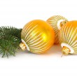Golden spheres and Christmas tree — Stock Photo