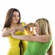 Hairdresser and her client — Stock Photo