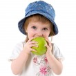 Little girl with red apple — Stock Photo #1111813