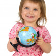 Little girl with terrestrial globe — Stock Photo #1111846