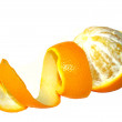 Orange with curly peeled skin — Stock Photo