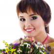 Pretty young woman flowers — Stock Photo