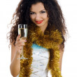 Pretty young women with wineglass of cha — Stock Photo