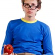 Student in glasses with apple — Stock Photo