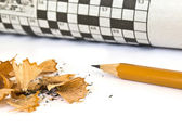 Crossword and pencil — Stock Photo