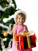 Cute girl with xmas gift — Stock Photo