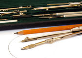 Drawing instruments on white — Stock Photo