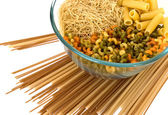 Noodles bowl on white — Stock Photo