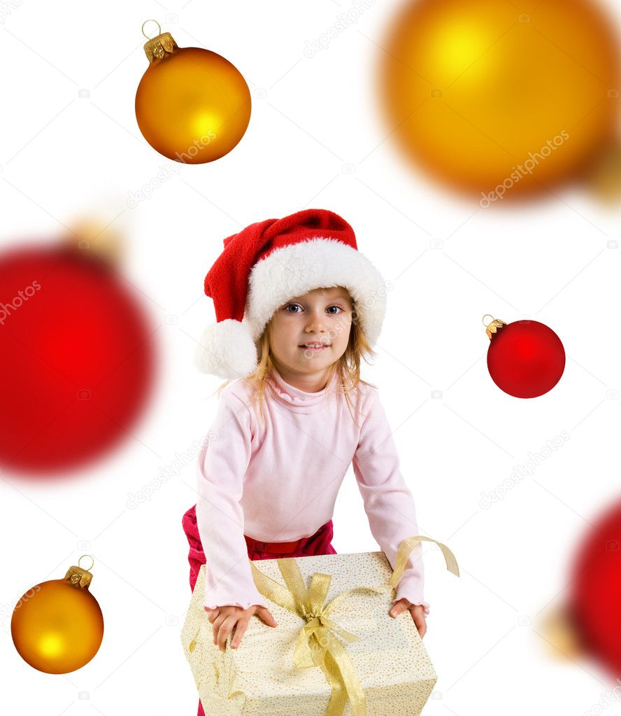 Cute girl with a xmas gift. Isolated on wite  Stock Photo #1110346