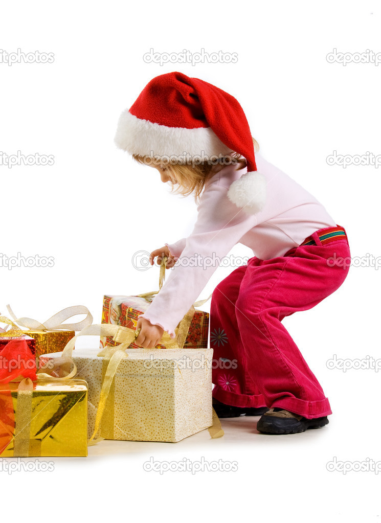 Cute girl with a xmas gift. Isolated on wite — Stock Photo #1110360