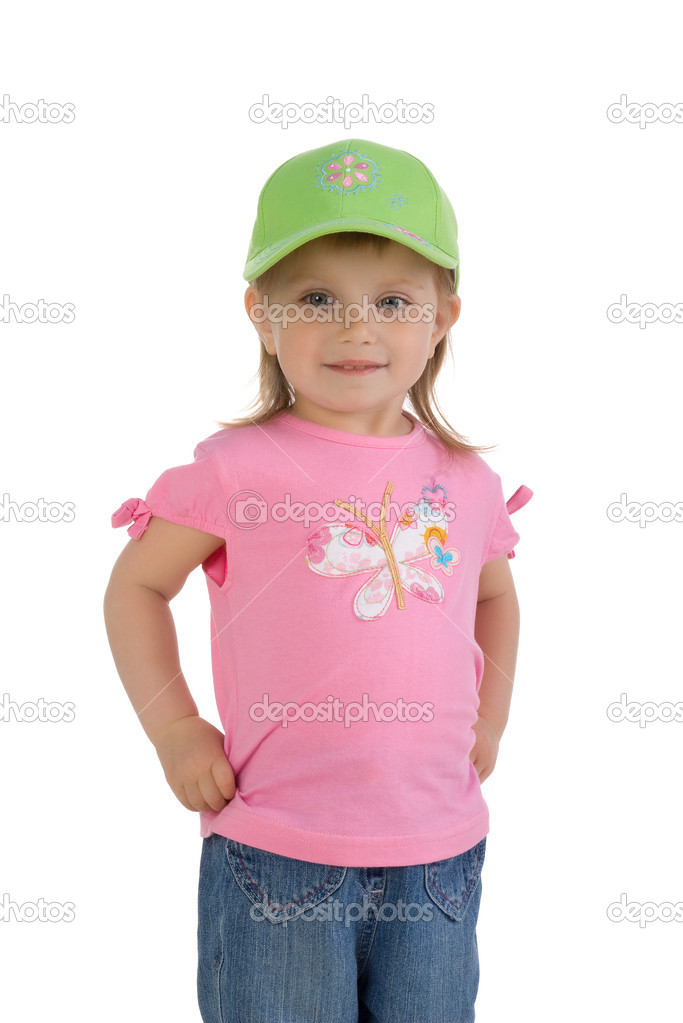 Cute little girl. Isolated on white background — Stock Photo #1110427