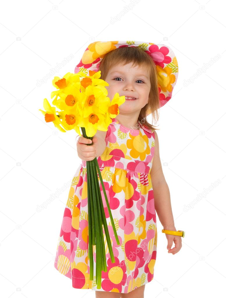 Cute little girl giving flowers. Studio shot — Stock Photo #1110513