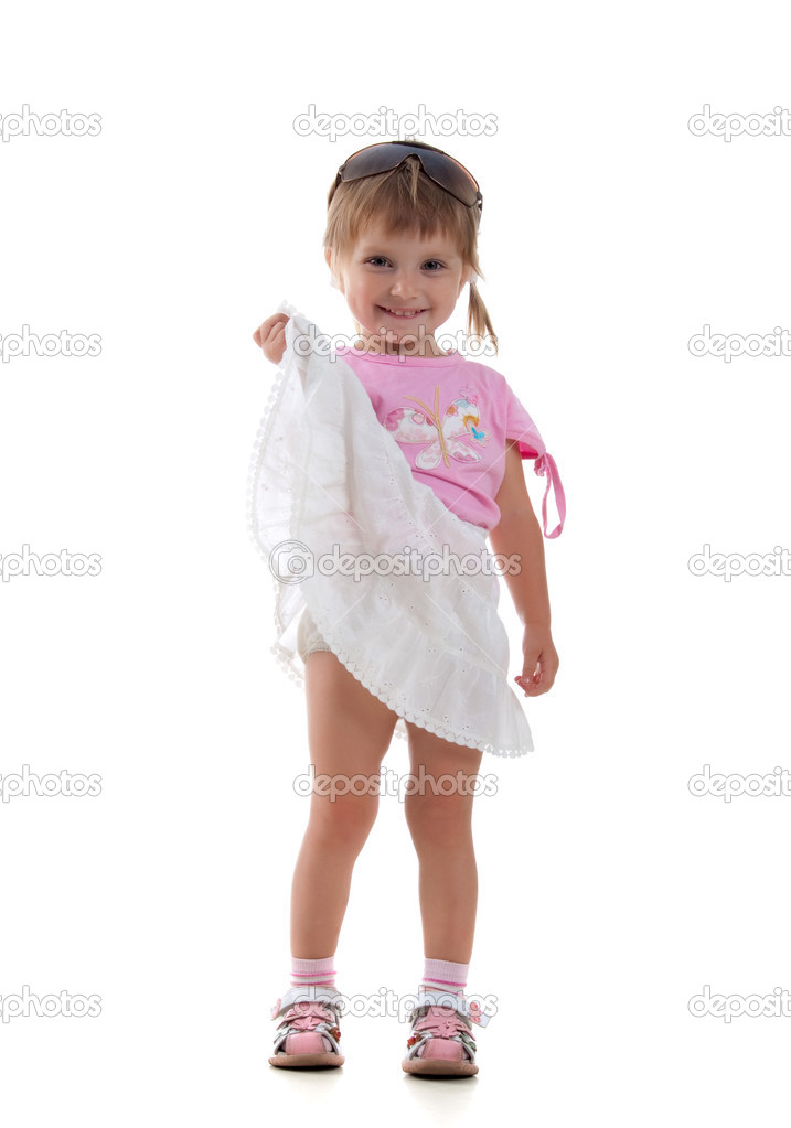 Cute little girl on a white background close-up  Stock fotografie #1110514