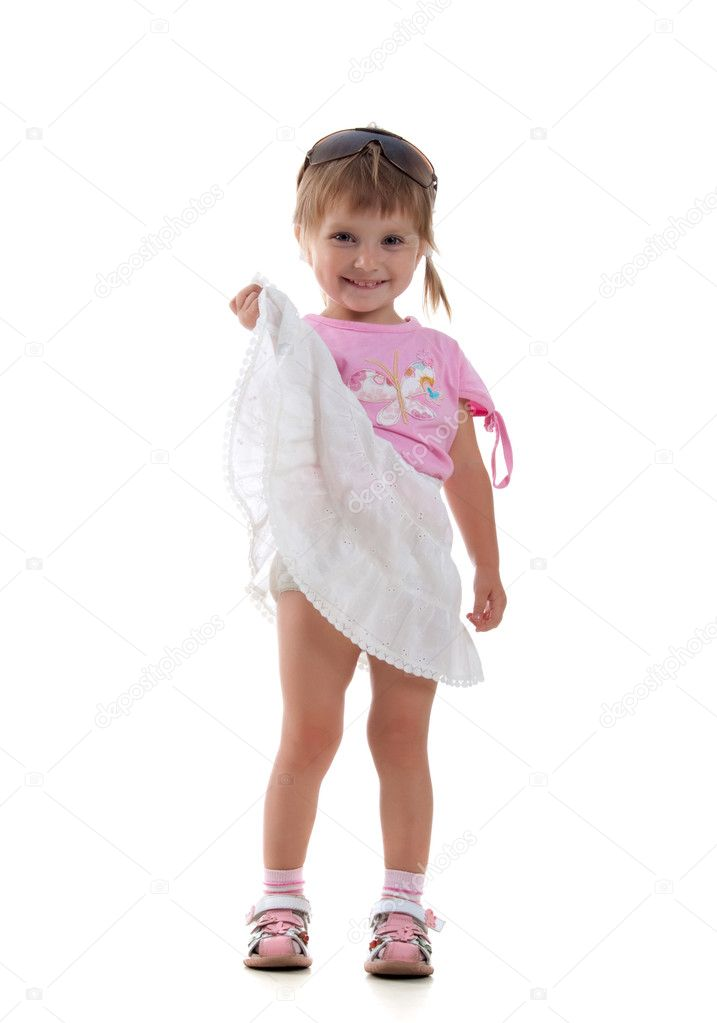 Cute little girl on a white background close-up — Stockfoto #1110514