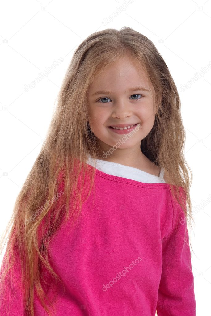 Cute little girl with long hair on a white background close-up  Stock Photo #1110597
