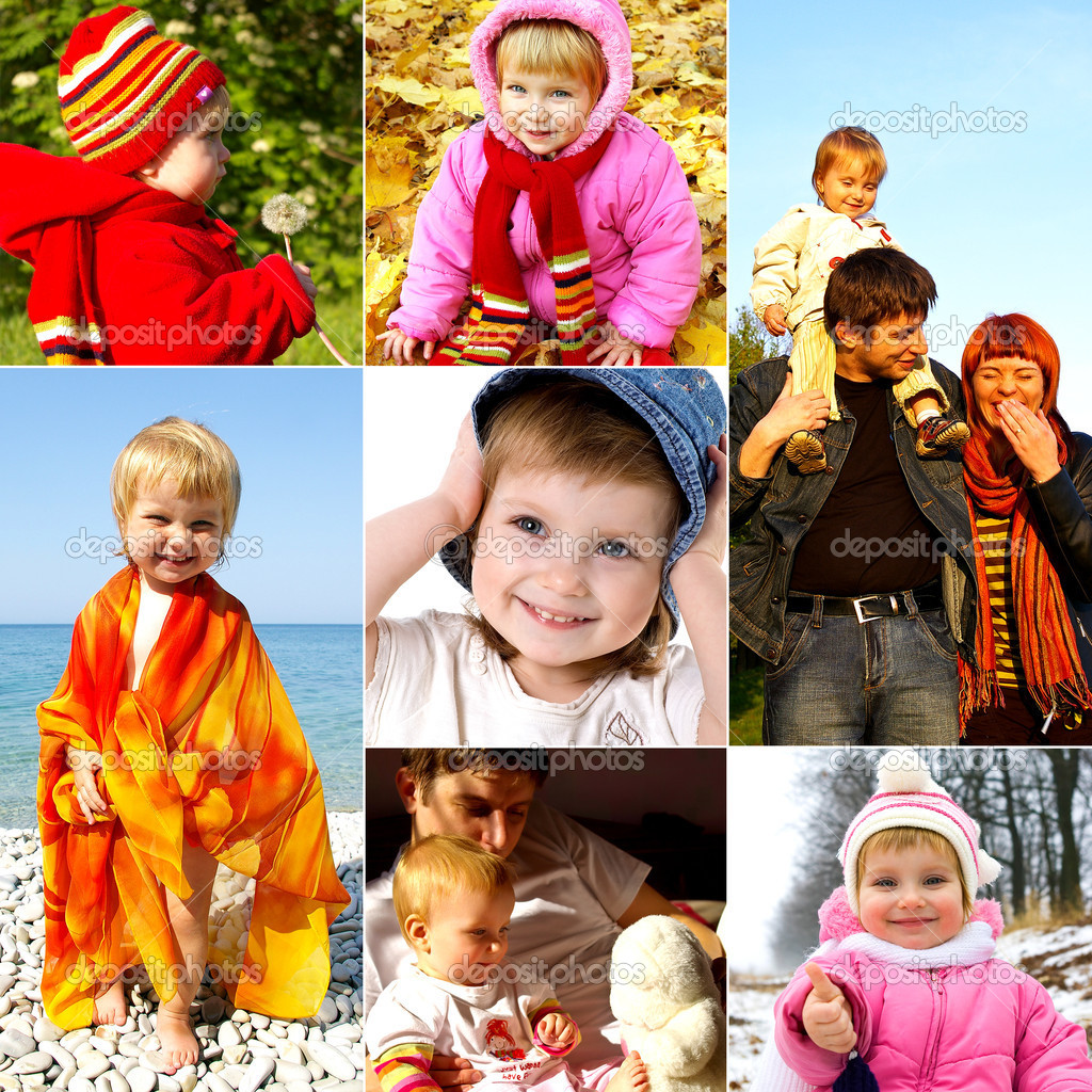 Happy childhood concept. Collection of little girl photos — Stock Photo #1111413
