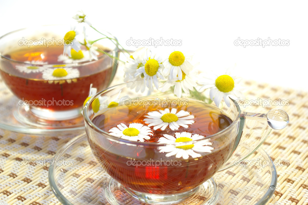 Cup of herbal tea and chamomile blossoms — Stock Photo #1111561