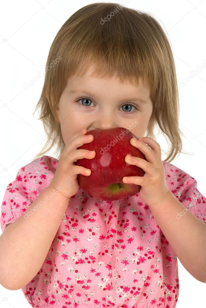Little girl with red apple isolated on white background  Stock Photo #1111839
