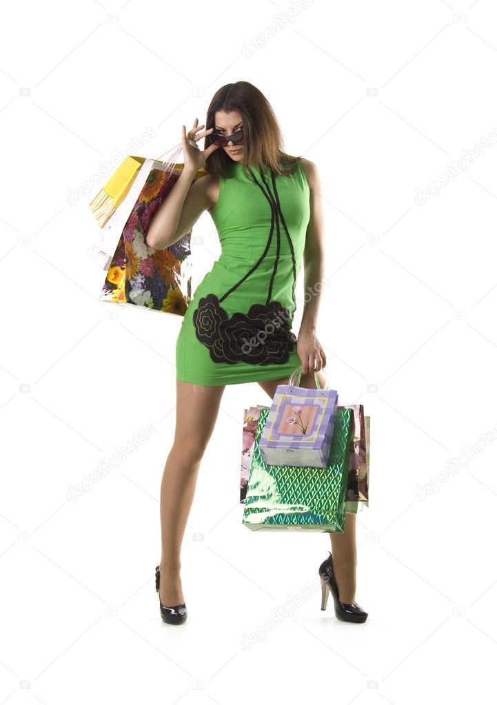 Pretty woman and bags on white background — Stock Photo #1112158