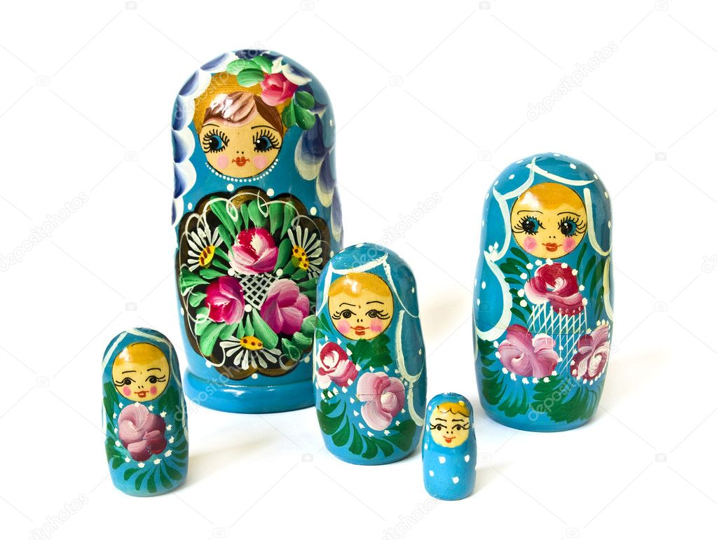 Russian dolls isolated on a white background — Stock Photo #1112284