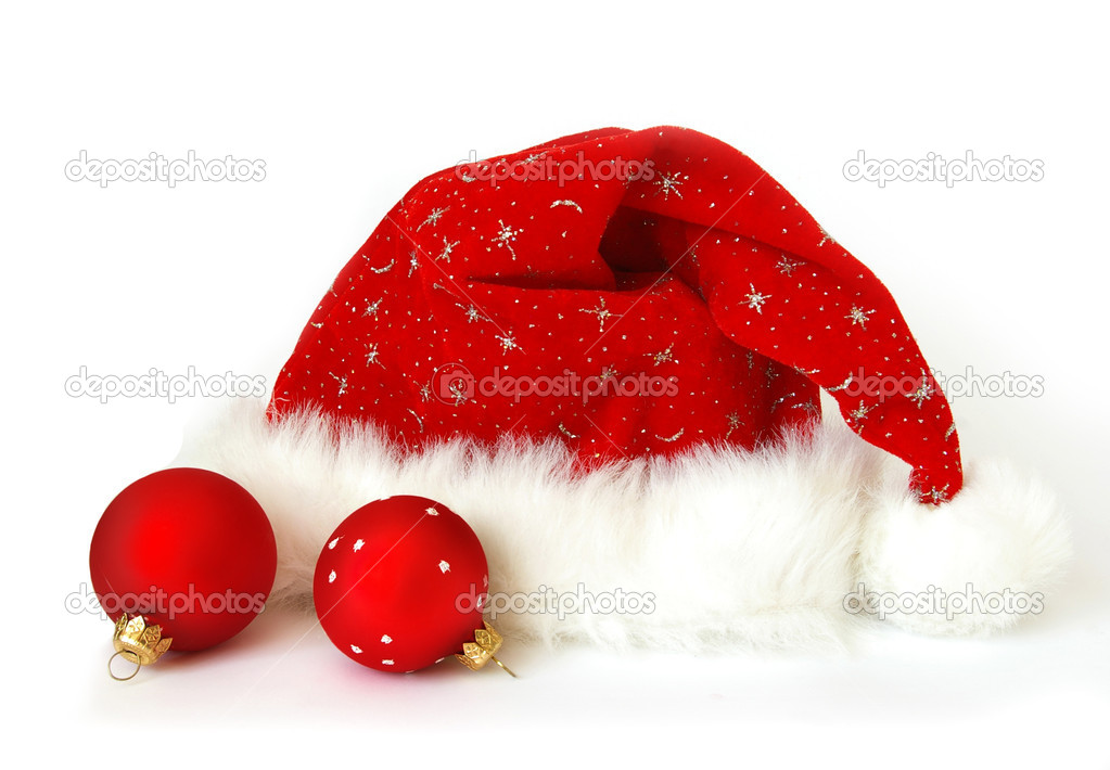 Close up of a Santa Claus hat and two spheres — Photo #1112292
