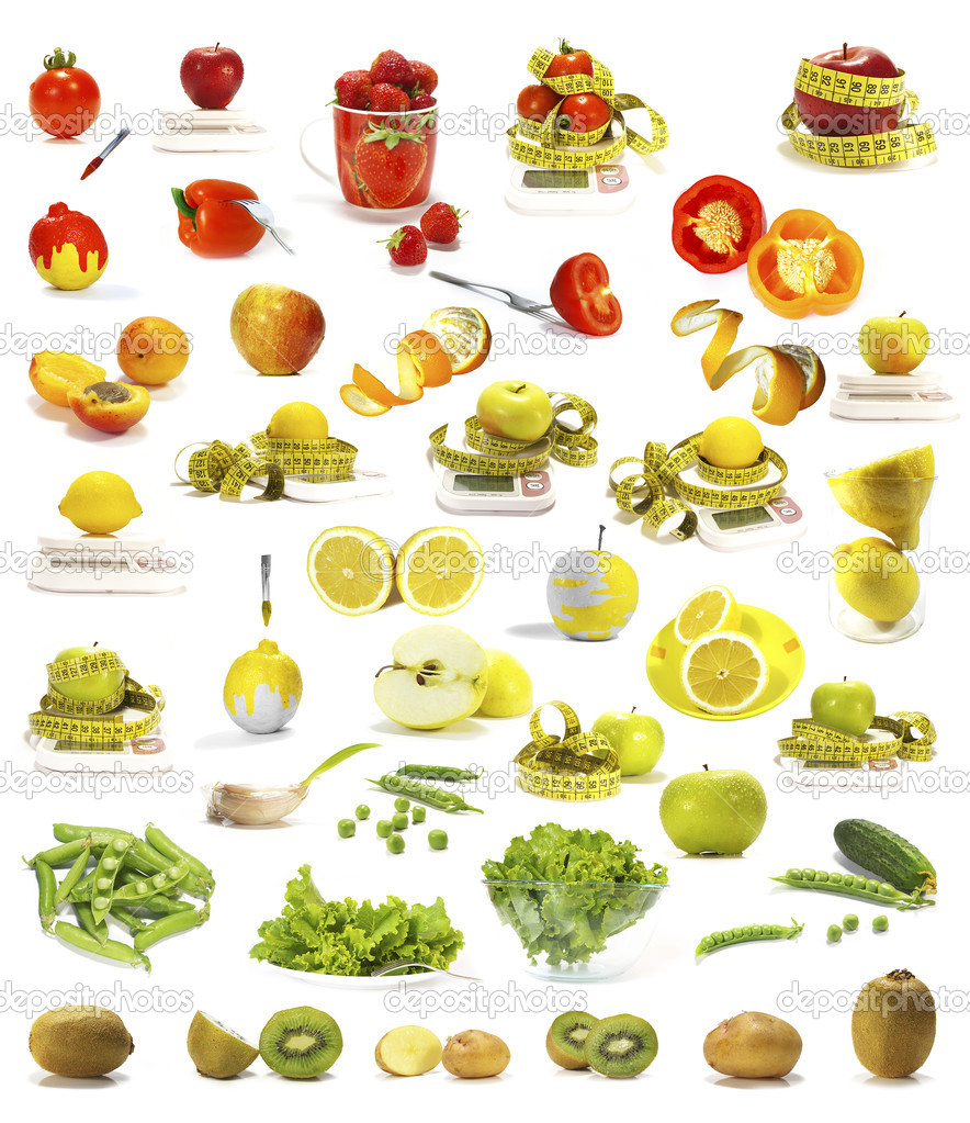 Vegetables and fruits collection isolated on white background — Stock Photo #1112434