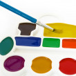 Stock Photo: Box of watercolors and a brush