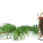 Рождественская елка и свеча — Стоковое фото