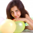 Cute young girl with balloons — Stock Photo #1127658