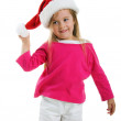 Little girl in santa claus hat — Stock Photo