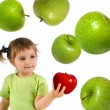 Little girl with ripe red apple — Stock Photo