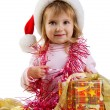 Pretty girl with a xmas gifts — Stock Photo