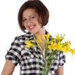 Pretty woman with yellow day-lily — Stock Photo