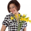 Pretty woman with yellow day-lily — Stock Photo #1128555