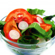 Vegetarian salad and a fork isolated — Stock Photo
